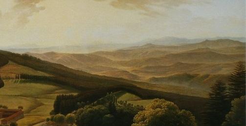 La valle dell'Arno, particolare di un dipinto dei primi dell'Ottocento di Louis Gauffier