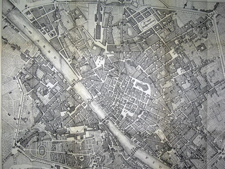 Firenze in antiche mappe tuttatoscana progetto poggi per firenze capitale pianta di firenze map of florence 1864 altavistaventures Images