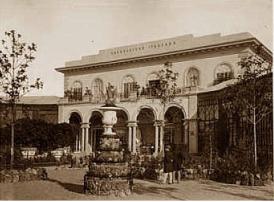 Retro della Leopolda durante l'esposizione del 1861