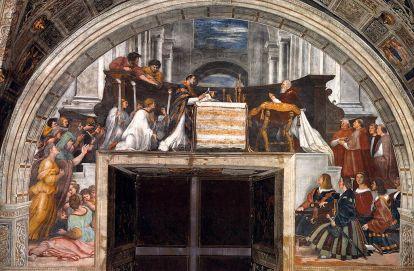 Messa di Bolsena stanza di Eliodoro di Raffaello Sanzio e allievi Musei vaticani