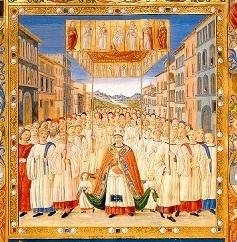 Processione del Corpus Domini - Da una miniatura dei codici liturgici di S.Maria del Fiore del XV secolo