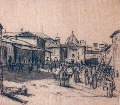 Particolare di un disegno di Dino Migliorini Il mercato di Sant'Ambrogio