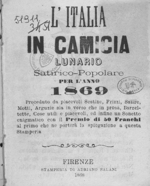 """Frontespizio del Lunario """"L'Italia in camicia"""""""