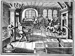 """'Arte della stampa"""" da l'""""Encyclopédie ou Dictionnaire raisonné des sciences, des arts et des métiers""""1706 (Foto e didascalia originali)"""