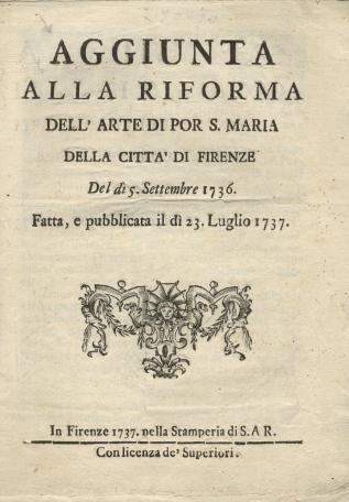 Prima pagina del volume stampato a Firenze nella tipografia di S,AR. nel 1737 (Foto originale)