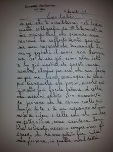 Lettera autografa di un'internata inserita nella Cartella Clinica 4321.