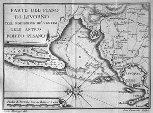 IL Porto Pisano e Livorno in un'incisione del XVIII secolo. (Immagine originale)