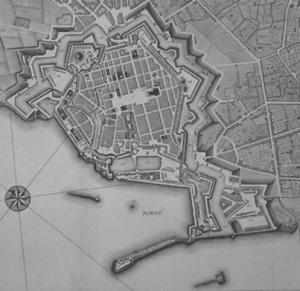 Livorno in una pianta dell'Ottocento