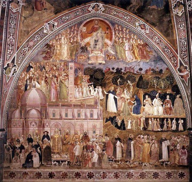 S:Maria Novella Il Cappellone degli Spagnoli affresco relativo alla Chiesa trionfante di Bonaiuto (Foto originale)