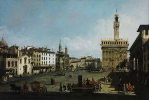 Bernardo Bellotto Piazza della Signoria a Firenze 1742 Budapest Museo delle Belle Arti (Foto originale)