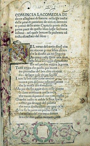 Editio Princeps della Divina commedia, stampata a Foligno nel 1472