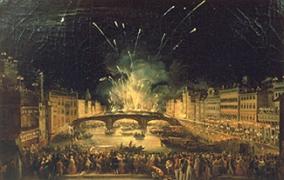 Giovanni Signorini Firenze I fuochi di San Giovanni dal Ponte alla Carraia, 1843 Palazzo Pitti Galleria d'arte moderna (Foto originale)