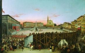 Giovanni Signorini Piazza Santa Maria Novella, il Palio dei cocchi, 1844 Palazzo Pitti Galleria d'Arte moderna