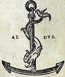 Il delfino intorno all'ancora, simbolo di Aldo Manuzio per identificare le proprie opere a partire dal 1502