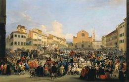 Giovanni Signorini, Piazza Santa Croce per il Carnevale, 1846. Galleria d'Arte moderna Palazzo Pitti (Foto originale)