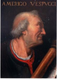 Uffizi, ritratto di Amerigo Vespucci il cuo volto assomiglia a quello dell'erma di palazzo Altoviti e dell'anziano in primo piano dell'affresco del Ghirlandaio nella cappella della famiglia Vespucci