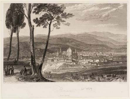 W. Turner, Firenze da Fiesole, incisione del 1819 presso il British Museum