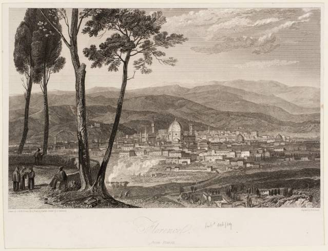 W. Turner, Firenze da Fiesole, incisione del 1819 presso il British Museum (Foto originale)