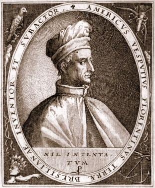 Amerigo Vespucci in una incisione che lo indica come scopritore del Brasile che ripropone il volto del personaggio con il cappello alla sinistra della Madonna della Misericordia nella cappella Vespucci