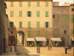 Fabio Borbottoni, l'arco dei Pecori visto da Piazza del Duomo. Un altro scorcio di Firenze che rimane solo nei dipinti degli artisti dell'epoca