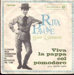 """Rita Pavone nella copertina del disco """"Viva la pappa col pomodoro"""""""