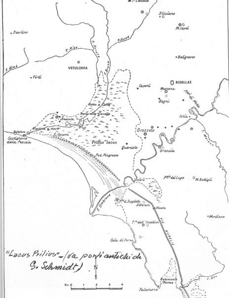 Il fiume Ombrone e il Bruna insieme ad altri corsi minori hanno contribuito a colmare l'antico lago in origine salato. In tempi remoti l'area era occupata dal mare. La formazione di un tombolo lungo la costa trasformò il golfo in laguna lentamente colmata dai detriti. Foto originale a questo link