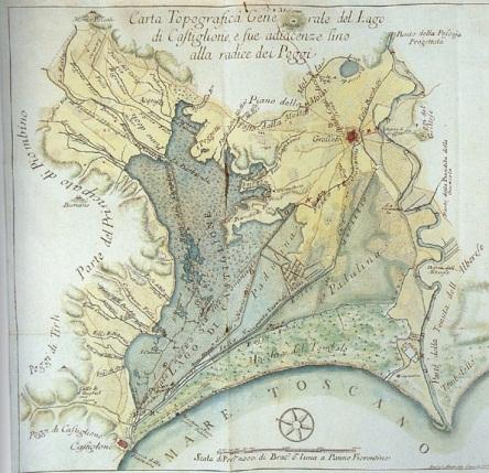 Il lago Prile in una carta del 1776. Si notano le ridotte dimensioni rispetto alla carta precedente del Lago di Castiglione. Foto originale a questo link