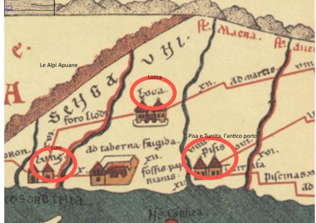 Tavola Peutingeriana, nei circoli in rosso da sinistra: Luni, Lucca, Pisa e Turrita, l'antico porto. La catena montuosa delle Apuane