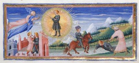 Giovanni di Paolo, incontro di Dante con Cacciaguida; vi è raffigurato l'incontro fra il Poeta e il Trisavolo e la sua morte durante la Seconda Crociata. (miniatura del sec.xv)