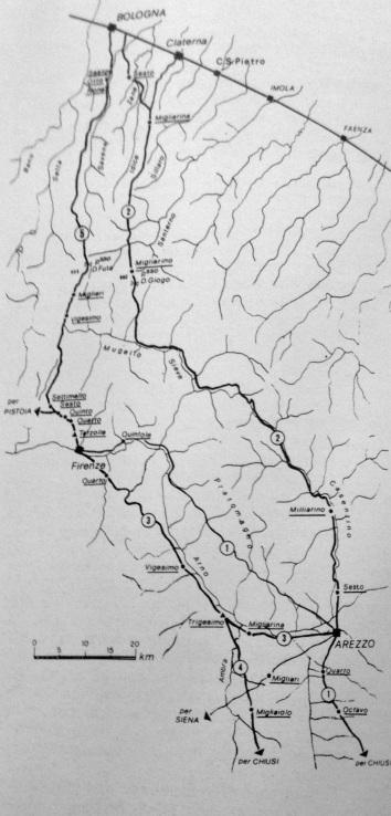 Le strade di epoca romana fra Arezzo, Firenze e Bologna
