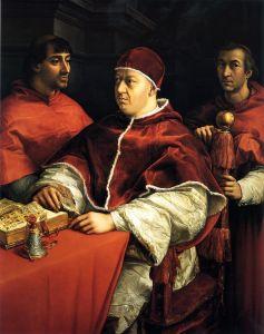 Raffaello Papa leone X con i cardinali Giulio dei Medici e Luigi dei Rossi