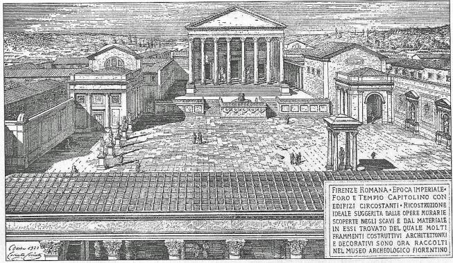 Il Foro e il Campidoglio sulle rovine del quale venne edificata, in epoca cristiana, la chiesa di Santa Maria in Campidoglio. La chiesa sconsacrata alla fine del settecento divenne una taverna, poi distrutta nella riedificazione ottocentesca.