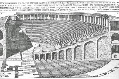 Interno del teatro romano, i resti dovrebbero trovarsi sotto le fondamenta di Palazzo Vecchio
