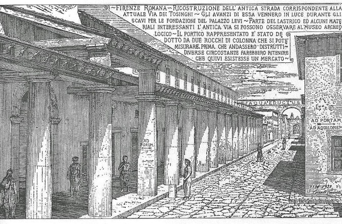 Ricostruzione dell'antica strada romana corrispondente all'attuale via Tosinghi
