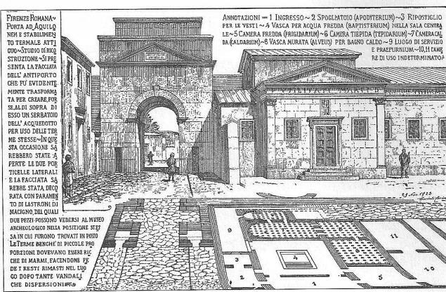 Porta Aquilonem (dall'interno) e le Terme