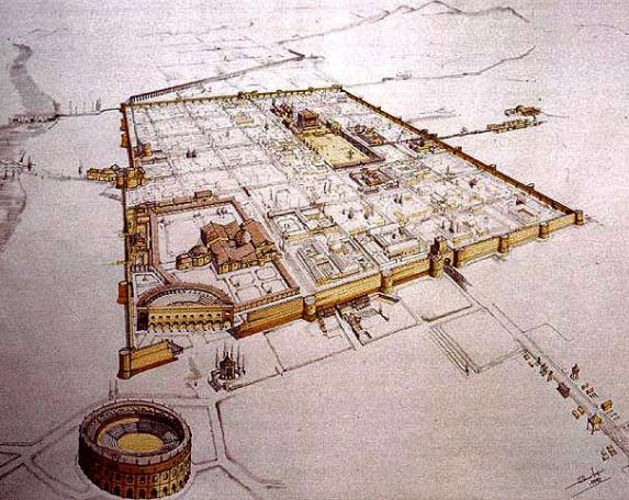 Ricostruzione Firenze romana in epoca imperiale.