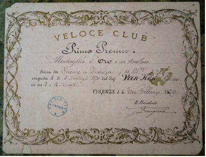 Certificato dell'attribuzione della vittoria