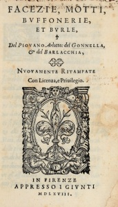 Copertina dei Motti e facezie del pievano Arlotto del 1618