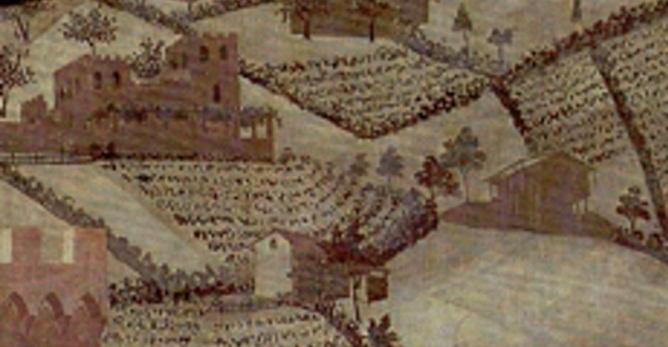 Ambrogio Lorenzetti Effetti del buon governo, particolare del paesaggio della campagna con una casa-torre e le varie case poderali.