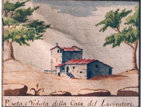 Un esempio di casa di montagna in u cabreo settecentesco che raffigura una casa con torre inglobata nella casa da lavoratore
