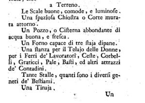 Una pagina del trattato del Morozzi relativa alle dotazioni delle case di montagna