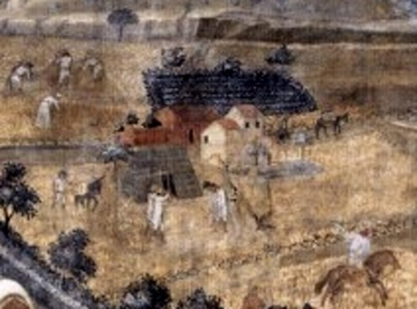 Ambrogio Lorenzetti Gli effetti del buon governo , l'affresco mostra le case vegetali dei contadini
