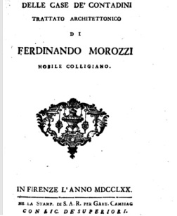 Morozzi, la copertina del suo trattato sulle case dei contadini