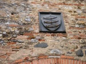 Lo stemma Guicciardini sulla torretta della villa castello di Poppiano