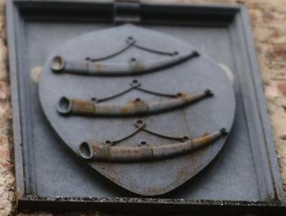 Le tre guicciarde, i corni da caccia, sullo stemma Giucciardini, particolare