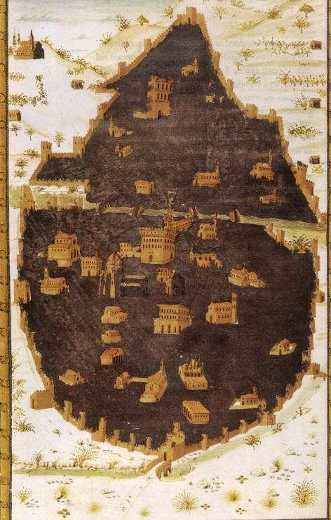 Miniatore fiorentino, mappa di Firenze da Poggio Bracciolini, Historia florentina