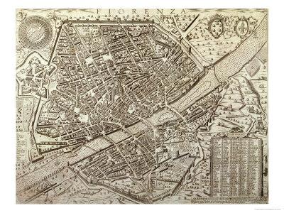 Pianta di Firenze nel 1595