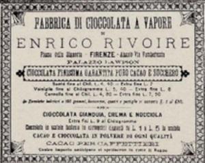 La cioccolata a vapore in un vecchio manifesto di Rivoire che la reclamizza