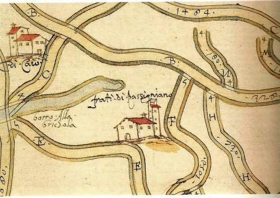 Strade e sedi umane del territoorio di Badia a Passignano (1580)