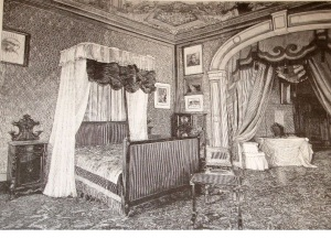 Firenze villa Fabbricotti la camera da letto allestita per la regina Vittoria d'inghilterra ospite della villa nel 1894